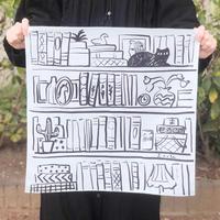 Loule(ロル)|網中いづるハンカチ「本棚は私の部屋」