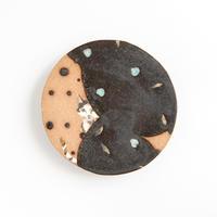 acne pottery studio 18黒釉の流し掛け皿(大)