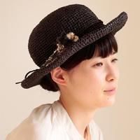 AVRIL|バンブーテープのつばつき帽子 ブラック