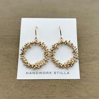 HANDWORK STILLA|ワイヤープランツつぶつぶリース小フックピアス・イヤリング K14コーティング