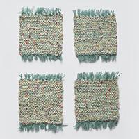 AVRIL|レールリボンの手織りコースター エメラルド