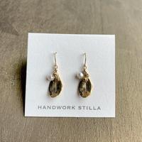HANDWORK STILLA|ミモザと葉っぱと淡水パールのフックピアス・イヤリング K14コーティング