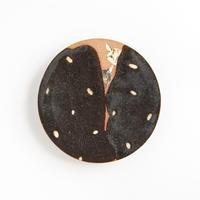 acne pottery studio 20黒釉の流し掛け皿(大)
