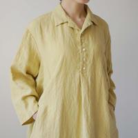 【10月号掲載分】Canako Inoue| Plain Linen / オープンカラーシャツワンピース マリーゴールド