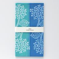 zucu|注染てぬぐい「ハイドランジア/水色×緑」