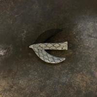 結城琴乃|焦がし絵ブローチ 鳥小2