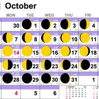 ムーンカレンダー2019 10月(フリーサンプル) LineColorタイプ 横型