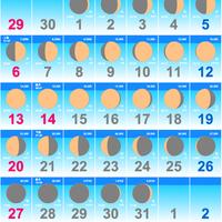 ムーンカレンダー2019 10月(フリーサンプル) Colorタイプ 縦型