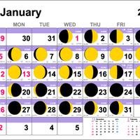 ムーンカレンダー2020 LineColorタイプ  横型