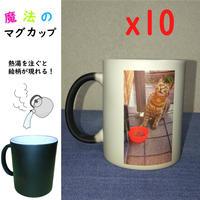 【14% OFF】同じ絵柄10コ注文でさらにお得!魔法のマグカップ 【熱湯を注ぐと絵柄が現れる!】