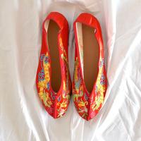 刺繍フラットシューズ (Yin Yang [Red] SIZE: S)