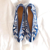 刺繍フラットシューズ (Opera [Blue])