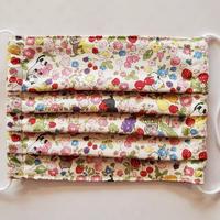 【裏地ひんやり素材】ハンドメイド布マスク お花畑のおとぼけにゃんこ(生成り) お好きなカード付き