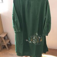 刺繍ワンピース グリーン
