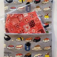 ハンドメイド布マスク&マスクケース お寿司ねこグレー お好きなカード