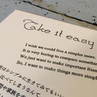 活版印刷 Take it easy and Enjoy! ポストカード