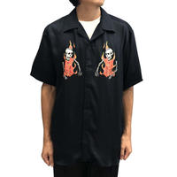 SSS WORLD CORP PREACHER HAWAIIAN SHIRT FLAMING SKELETON