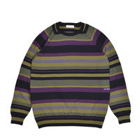POP TRADING COMPANY STRIPED KNITTED CREWNECK