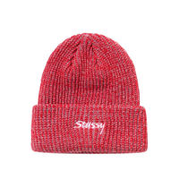 STUSSY   2 TONE KNIT SHORT BEANIE RED