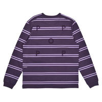 POP TRADING COMPANY POP STRIPED LONGSLEEVE DARK PURPLE / VIOLET