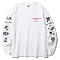 BLACK EYE PATCH LOGO ARCHIVES L/S TEE WHITE