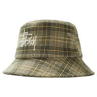 STUSSY BIG LOGO PLAID BUCKET HAT OFF WHITE