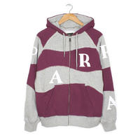 BY PARRA   HOODED VEST WAVEY STRIPES   GREY