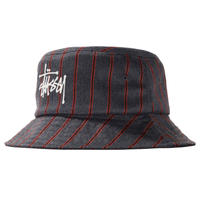 STUSSY BIG LOGO STRIPED BUCKET HAT CHARCOAL