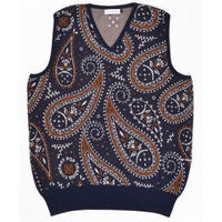 POP TRADING COMPANY KNITTED PAISLEY SPENCER NAVY/BROWN