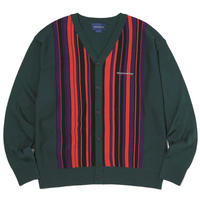 THISISNEVERTHAT DSN-LOGO STRIPED CARDIGAN GREEN