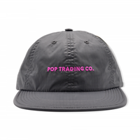 POP TRADING COMPANY  FLEXFOAM 6 PANEL HAT ANTHRACITE/PINK