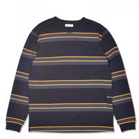 POP TRADING COMPANY POP STRIPED LONGSLEEVE CHARCOAL/BURNT YELLOW