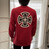 INDEPENDENT BAR/CROSS L/S TEE RED