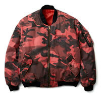 BLACK EYE PATCH DAMAGED BOMBER JACKET  RED CAMO