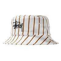 STUSSY BIG LOGO STRIPED BUCKET HAT OFF WHITE