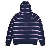 POP TRADING COMPANY STRIPE LOGO HOODED SWEAT NAVY/VIOLET