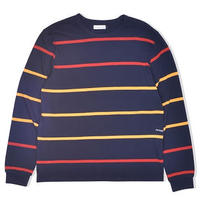 POP TRADING COMPANY STRIPED L/S TEE NAVY/RED/YELLOW