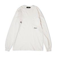 DIASPORA SKATEBOARDS DET  L/S POCKET TEE WHITE