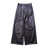 SYNTHETIC LEATHER TUCK WIDE PANTS / A-20SS-WSP20