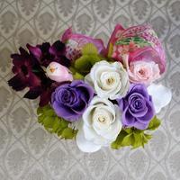 プリザーブドフラワー・紫のバラと小鳥・和風