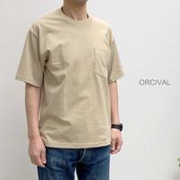 【メンズ】Orcival(オーシバル)クルーネック ポケット付き半袖Tシャツ  RC-9166