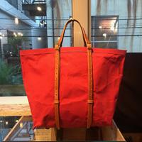 帆布トートバッグ 赤×キャメル