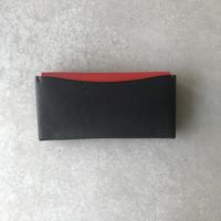 Dew-003 長財布スリム版 黒×赤