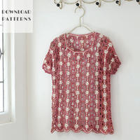 【編み図】小花模様のかぎ編みブレードベスト