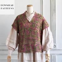 【編み図】かぎ針編みのドミノ編み直線ベスト