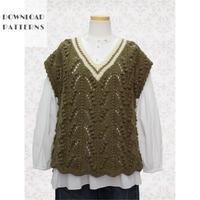 【編み図】透かしと玉編みベスト