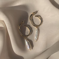 fresh water pearl hoops (post silver925)
