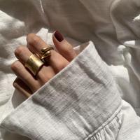 matte volume twist ring -gold-