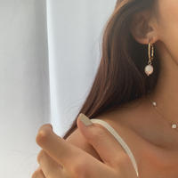 fresh water pearl hoops (post silver925)