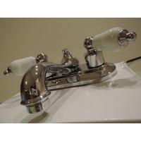 米国GLACIER BAY社製2ハンドル ティーポットタイプ 混合水栓シルバー